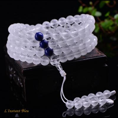 Mālā Tibétain Cristal et Lapis lazuli «Om Mani Padme Hum»