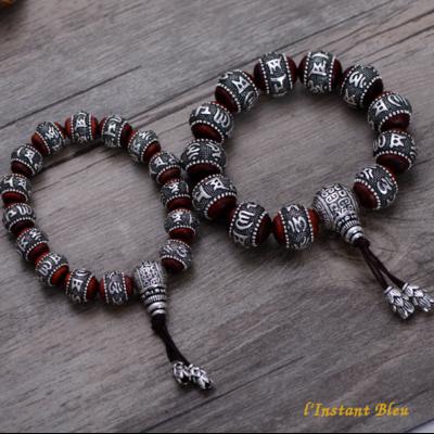Bracelets des Amants «Mahatma» en Bois de Santal et Argent