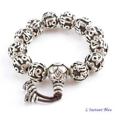 Bracelet de prière «Dharma» en Argent plaqué