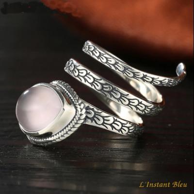 Bague anneau vintage «Śheṣha » en Argent et Quartz rose