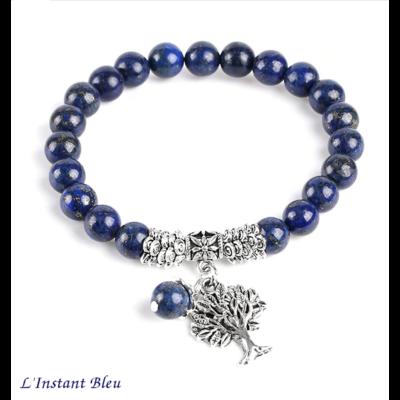 Bracelet Bohème «Akāra » Arbre de vie, en Lapis Lazuli