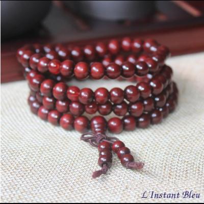 Mālā traditionnel de Méditation «Kṛiṣṇa»en Bois de Santal rouge 8 mm