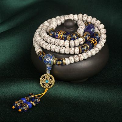Mālā108 perles « Zarathoustra » en Graines de Bodhi et Onyx bleu - 8-9-10mm