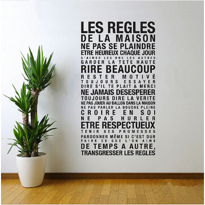 Grand Sticker mural « Les règles de la Maison »