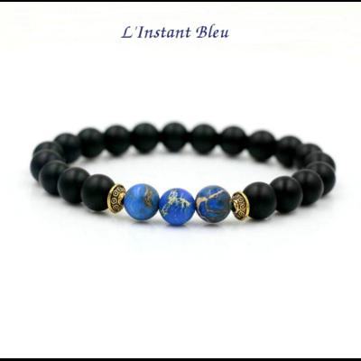 Bracelet Ethnique «Śubhā» en Onyx noir et Pierres de couleur