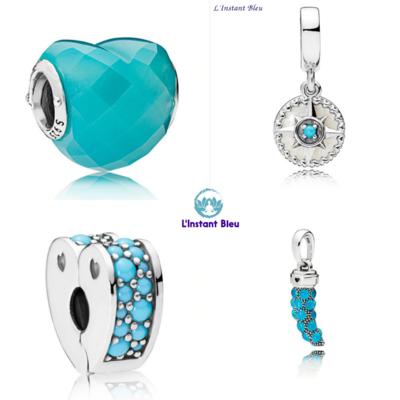 4 Charms Bohème: Coeur bleu facetté, Rose des sables, Coeur Clip bleu, Corne bleue