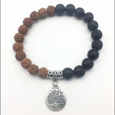 Bracelet Ethnique «Ātman » en Rudraksha et Pierre de lave