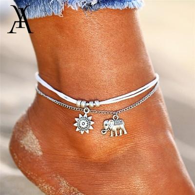 Bracelets de Cheville Bohème «Gajā» Eléphant et Astre solaire