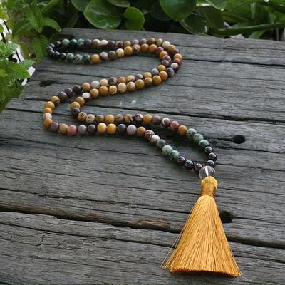 Mālā 108 perles « Sūrya » en Grenat, Jaspe mokaïte et Jaspes de couleur -  8 mm