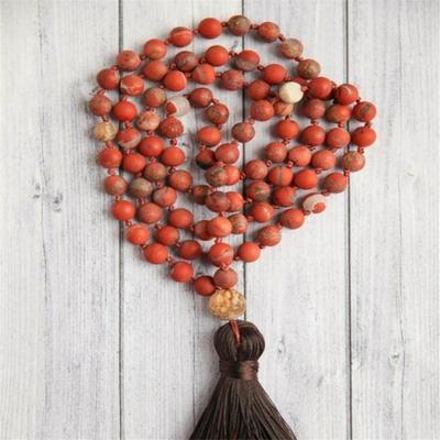 Mālā de prière 108 perles « Īśvarakṛṣṇa » en Jaspe rouge -  8 mm