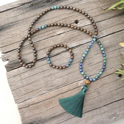 Mālā108 perles «Toumo caṇḍālī» en Lapis Lazuli, Bronzite et Œil de Tigre - 8 mm