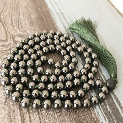 Mālā 108 perles « Kuṇḍalinī » en Hématite -  6 mm