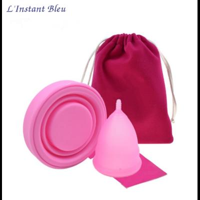 Coupe menstruelle Pastel en Silicone de qualité médicale + Boîte de rangement + Pochette tissus