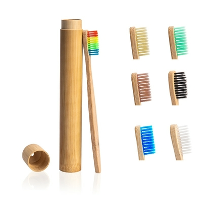 Brosse à dents de voyage anti-bactérienne et Boîte cylindre «Prajīn» en Bambou naturel