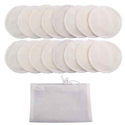 Lot de 16 Disques à démaquiller lavables «Sajāla», en fibres de Bambou et velours de Coton + Filet de lavage