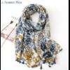Echarpe style Bohème à fleurs «Aṣzāra » Pompons bleus-1.1