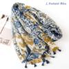 Echarpe style Bohème à fleurs «Aṣzāra » Pompons bleus-2.2