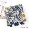 Echarpe style Bohème à fleurs «Aṣzāra » Pompons bleus-4.1
