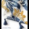 Echarpe style Bohème à fleurs «Aṣzāra » Pompons bleus-6.1