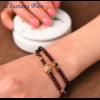 «Sḥabdā» Double Bracelet bohème en Grenat-12.1