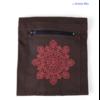 Sac Tapis Toile de couleur-Fleur brodée-choco