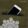 Sac Tapis Toile de couleur-Fleur brodée-poche vert détail