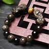 Bracelet Feng shui «PiYao» en Obsidienne dorée et Œil de Tigre-1