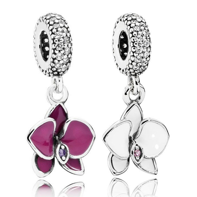 100-v-ritable-925-argent-Sterling-charmes-violet-et-blanc-orchid-e-Dangle-charmes-Fit-Original