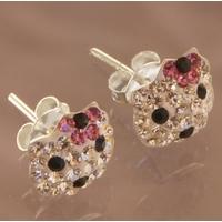 Boucles d'oreilles Hello Kitty en cristaux de Swarovski roses et argent 925
