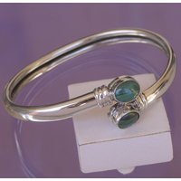 Bracelet rigide bangle Guilia en Malachite et argent 925