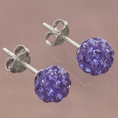Boucles d'oreilles en Cristaux de Swarovski violets et argent 925