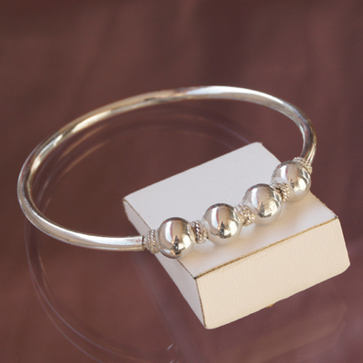 Bracelet rigide bangle Perles en argent 925
