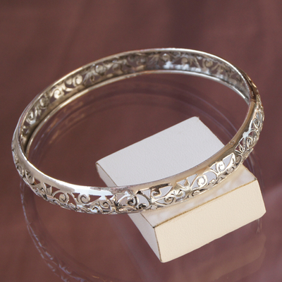 Bracelet rigide bangle Ethel en argent 925 Ø 6,4 cm