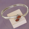 Bracelet rigide bangle Guilia en Cornaline et argent 925