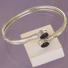 Bracelet rigide bangle Guilia en Onyx noir et argent 925