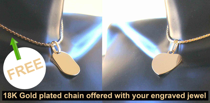 18K Gold plated chain offered with your engraved jewel