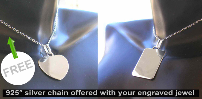 925 silver chain offered with your engraved jewel