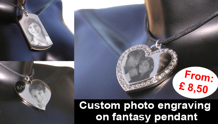 Custom photo engraving on fantasy pendant