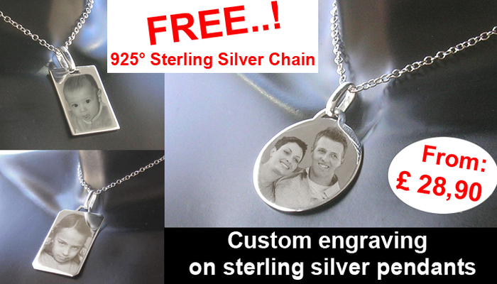 Custom engraving on sterling silver pendants