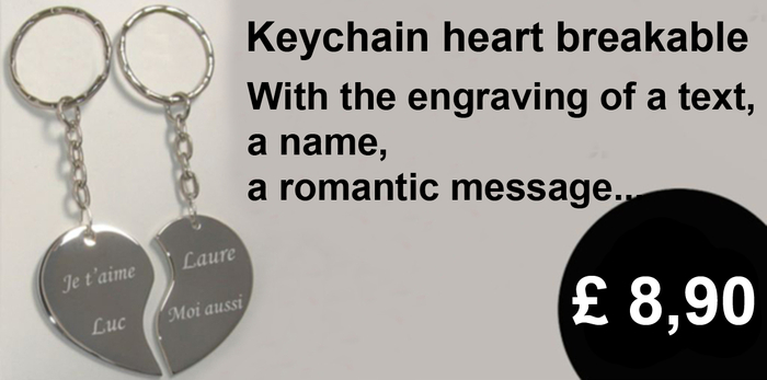 Keychain heart breakable