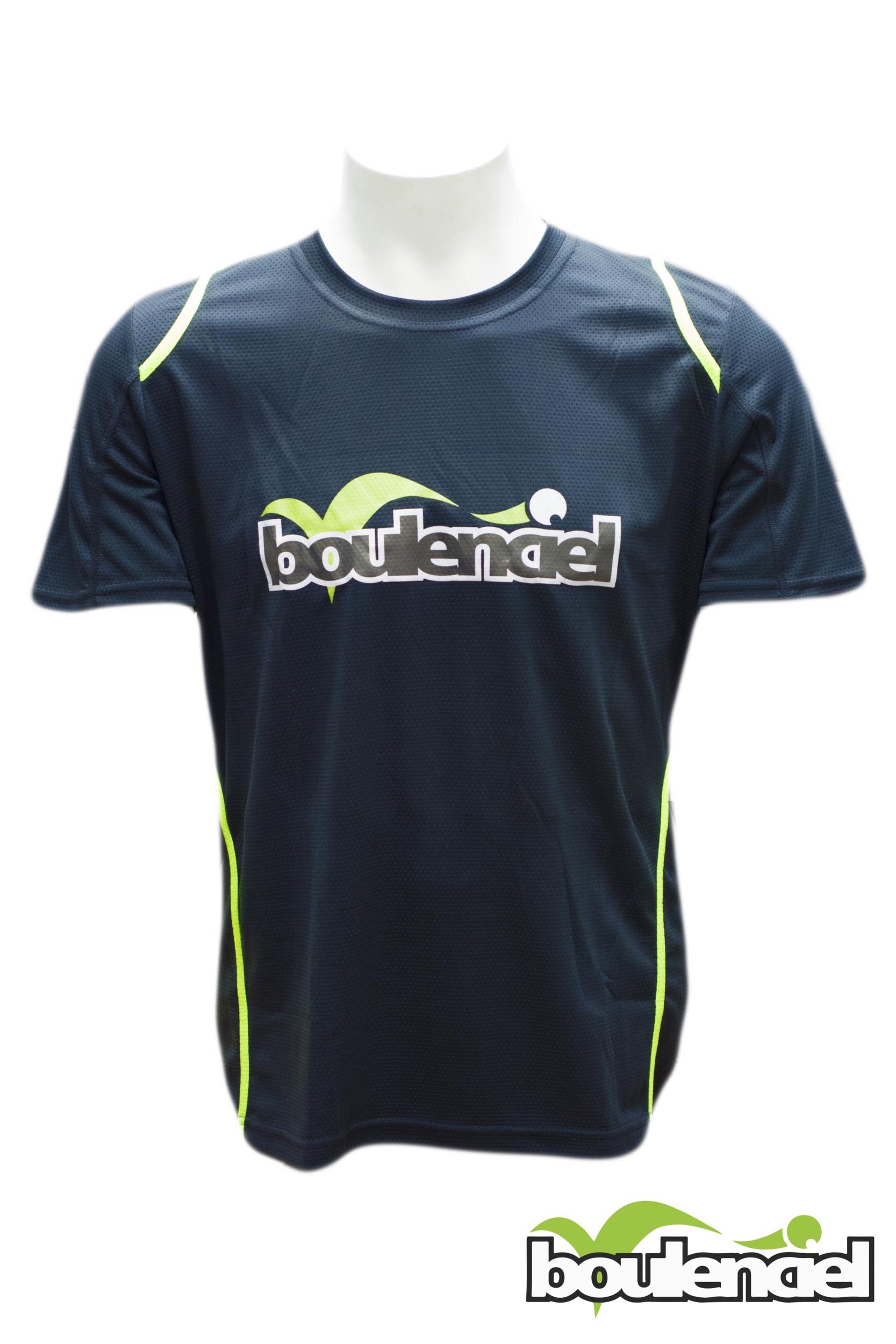 T-shirt microfibre unisex noir/vert BOULENCIEL