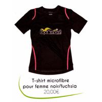 T-shirt microfibre pour femme noir/fuchsia BOULENCIEL