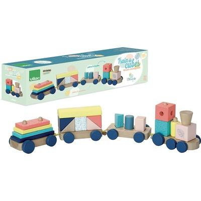 Train cubes sous la canopé Vilac