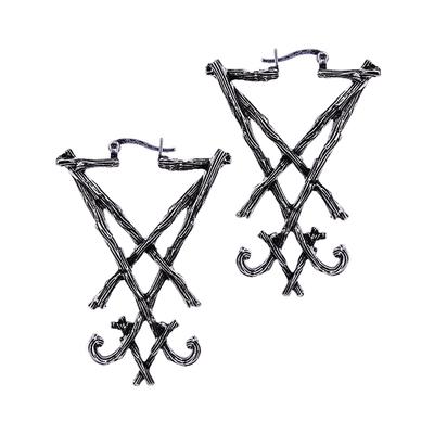 Boucles Silver Lucifer Sigil Earrings