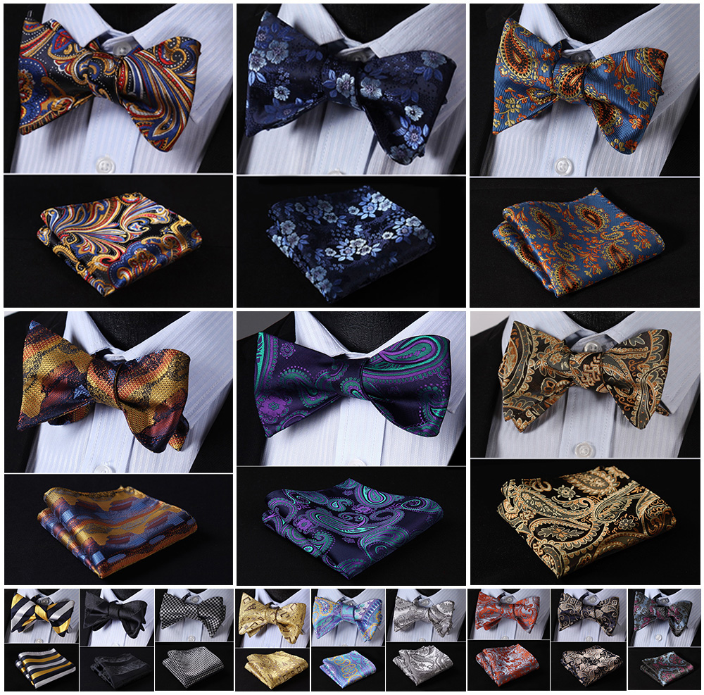 Floral-Paisley-Ray-Soie-Jacquard-Tiss-Hommes-Papillon-Auto-Bow-Tie-BowTie-Pocket-Carr-Mouchoir-Hanky