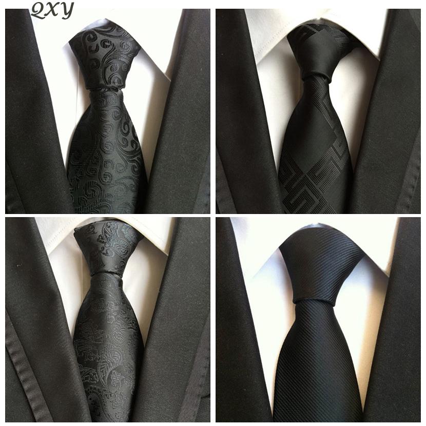 Mens-de-mode-cravates-noir-cravate-robe-d-affaires-Gravata-hombre-cravate-Robes-hommes-cravate-Casual