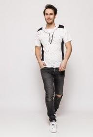 T-shirt bi color à col châle
