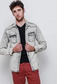 Chemise délavée grise épaisse