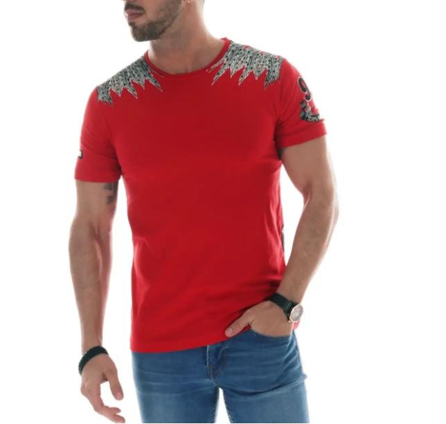 T-shirt rouge Indian skulls