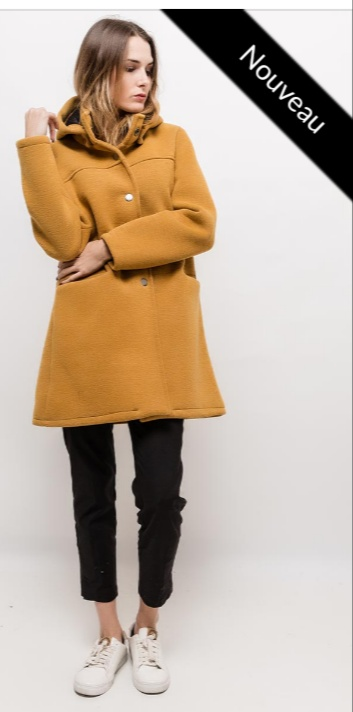 Manteau à capuche moutarde